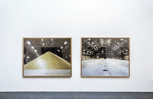 Two pictures mounted on a gallery wall - sugar mound and the warehouse empty